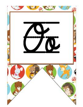 Woodland creatures (Camping) themed Cursive Alphabet Banner