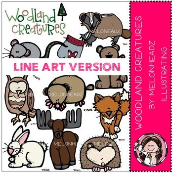 Woodland creatures clip art - LINE ART - by Melonheadz