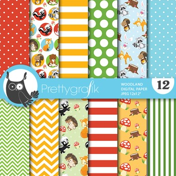 Woodland digital paper, commercial use, scrapbook papers,