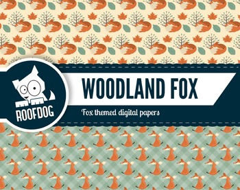 Woodland fox themed digital papers | fall woodland creature patterns