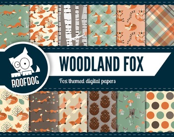 Woodland fox themed digital papers | fall woodland creatur