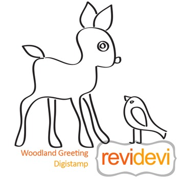Woodland greeting (digital stamp, coloring image) S010, deer and bird