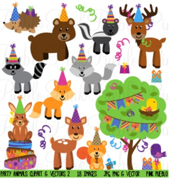 Woodland or Forest Birthday Party Animals Clipart Clip Art