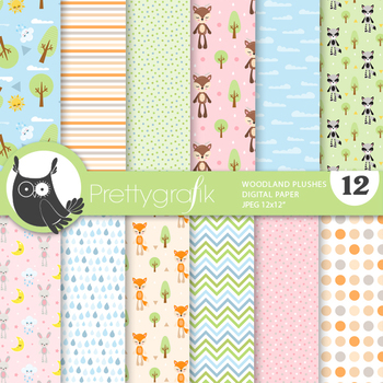 Woodland plushies papers, commercial use, scrapbook papers - PS863