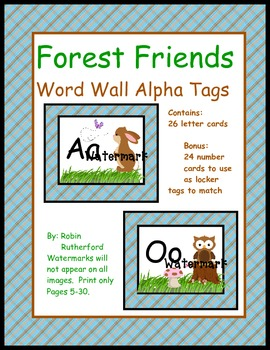 Woodland Forest theme Word Wall  cards with Bonus number locker tags