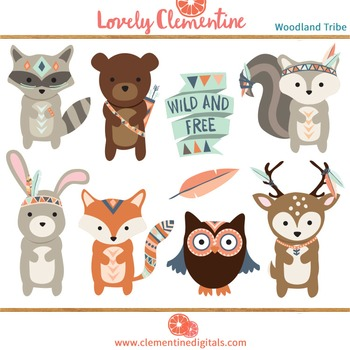 Woodland tribal animals clip art  - Lovely Clementine