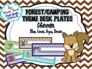 Woodland/Forest Theme Nameplates Chevron (Blue, Green, Aqu
