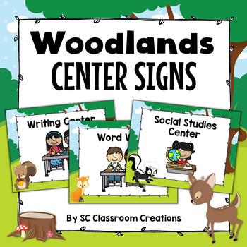 Woodlands Themed Center Signs-Classroom Decor