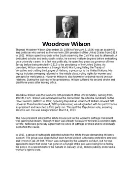 Woodrow Wilson Article and Assignment