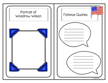 Woodrow Wilson Biography Mini Book Activity, Quote Posters, President's Day