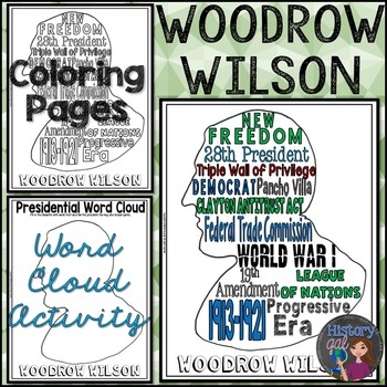 Woodrow Wilson Coloring Page and Word Cloud Activity