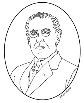 Woodrow Wilson (28th President) Clip Art, Coloring Page or Mini Poster