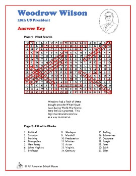 Woodrow Wilson - Presidents Word Search and Fill in the Blanks