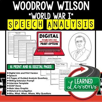 Woodrow Wilson World War I Speech Analysis & Writing Activity