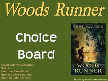 Woods Runner Choice Board Novel Study Activities Menu Book Project Rubric