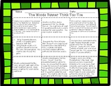 Woods Runner by Gary Paulsen Think Tac Toe Project