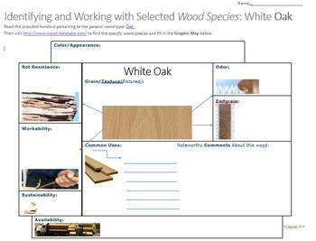 Woods or Woodshop Substitute Activity: Oak Graphic Maps