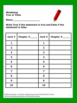 Woodsong Gary Paulsen Book True or False