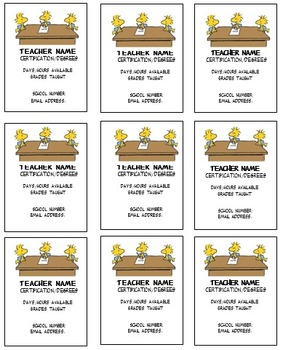 Woodstock Teacher business cards Editable