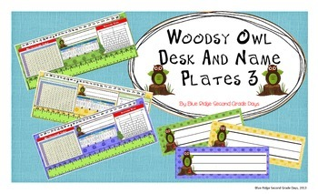 Woodsy Owl Desk and Name Plates With Cursive