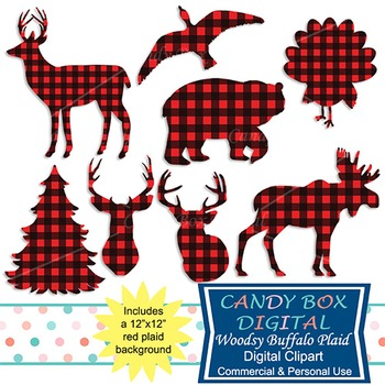 Woodsy Red Buffalo Plaid Animal Clip Art for Sportsmen, Hunters - Commercial OK