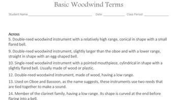 Woodwind Basic Terms Vocabulary Quiz and Puzzles