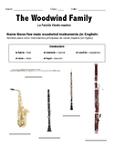 Woodwind Family ELL Worksheet
