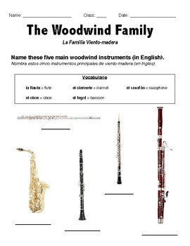 woodwind family ell worksheet by veronica lawrence tpt. Black Bedroom Furniture Sets. Home Design Ideas