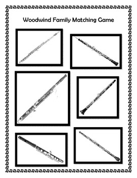 Woodwind Family Folder Matching Game