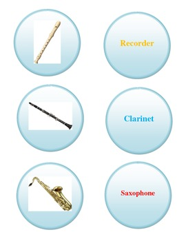Woodwind Instrument File Folder Game