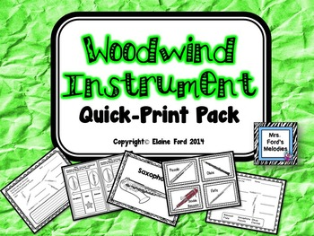 Woodwind Instrument Quick Print Pack