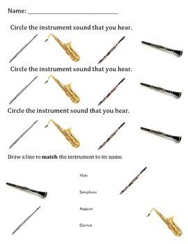 Woodwind Instrument Sound Worksheet