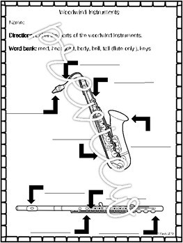 Woodwind Instruments of the Orchestra Music Sub Plans-- Print and Go!