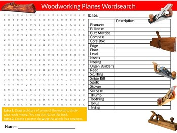 Woodworking Planes Wordsearch Sheet Starter Activity Keywords Wood-shop Tools