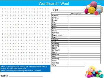 Wool Wordsearch Puzzle Sheet Keywords Animals Textiles Sheep