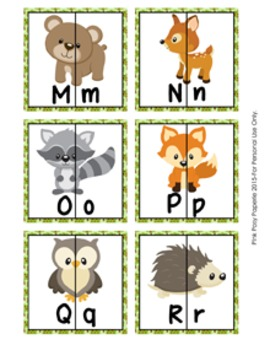 Woodland Animals Letter Match Puzzles