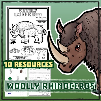 Woolly Rhinoceros -- 10 Resources -- Coloring Pages, Reading & Activities