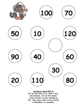 Woollybear Caterpillar Math Counting to 120 by 10