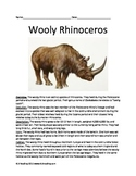 Wooly Rhino - extinct - information article questions vocab facts pictures