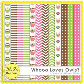 Wooo Loves Owls Digital Papers