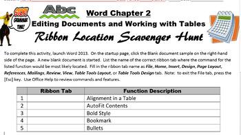 Word 2013 Chapter 2 Ribbon Location Scavenger Hunt