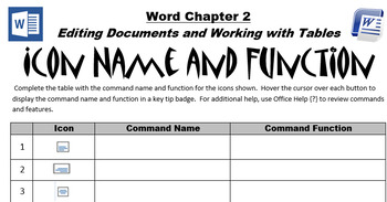 Word 2013 Chapter 2 Icon Name and Function Worksheet