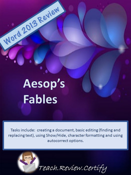 Word 2013 Lessons 1-5 Review Aesop's Fables