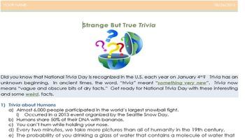 Word 2013 Review/MOS Exam Review:  Strange But True Trivia