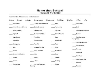 Word 2013 Ribbon Worksheet