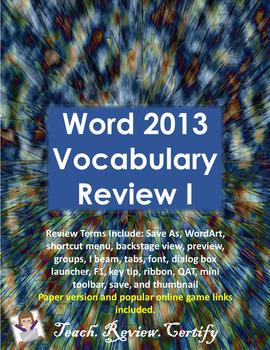 Word 2013 Vocabulary Review I
