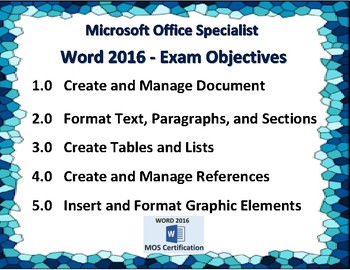 Word 2016 Exam Prep Poster