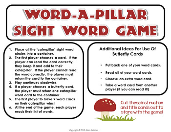 Word-A-Pillar Sight Word Game - DOLCH words