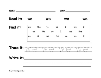 Word Accountability Sheets Packet