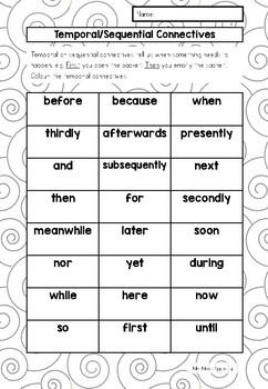 Word Activities for Imperative Verbs and Temporal Connectives
